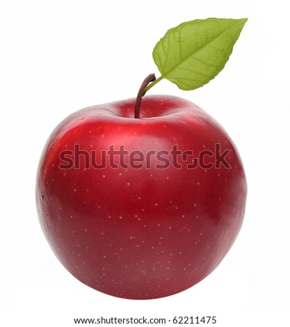 Red apple with fresh green leaf isolated on white(with Clipping Path) - stock photo