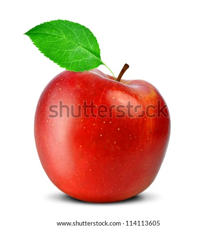 red apple with green leaf  isolated on white - stock photo