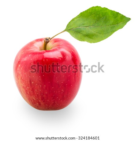 Red apple with green leaf isolated on white background with Clipping Path