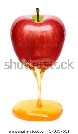 Red apple with honey isolated - stock photo