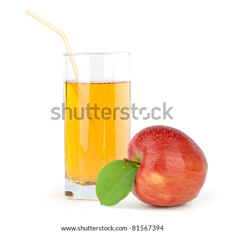 red apple with juice isolated on white - stock photo