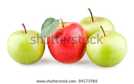 Red apple with leaf and three green apples around on white background