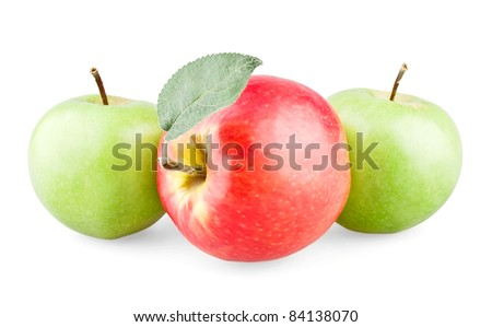 Red apple with leaf and two green apples on white background