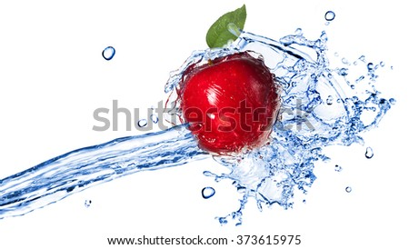 Red apple with leaf and water splash isolated on white. Header for website - stock photo