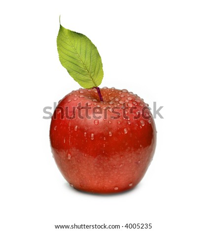 Red apple with leaf and watter drop