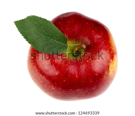 Red apple with leaf clouse-up jn a white background - stock photo