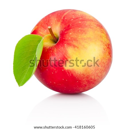 Red apple with leaf isolated on a white background - stock photo