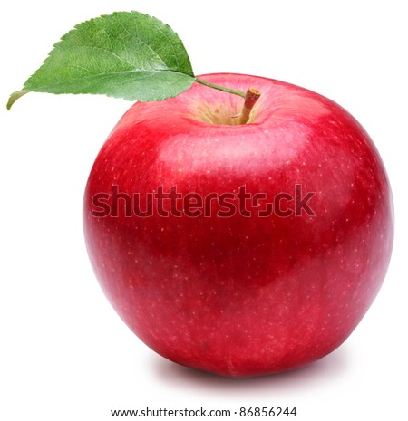 Red apple with leaf on a white background. - stock photo