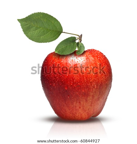 red apple with leaves and water drops isolated on white