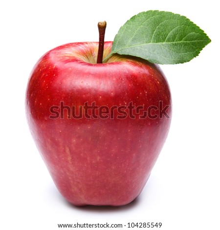 Red apple with leaves isolated on white