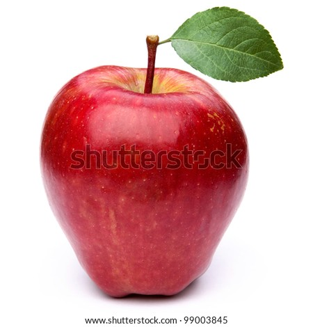 Red apple with leaves isolated on white - stock photo