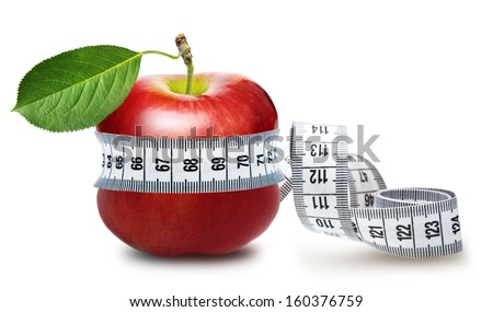 Red apple with measurement isolated on white - stock photo