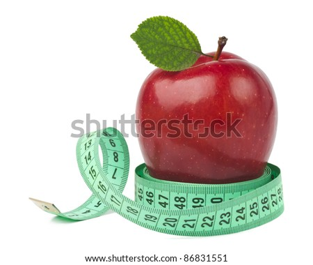 Red apple with measurement isolated on white