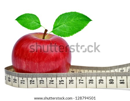 red apple with measuring tape  isolated on white - stock photo