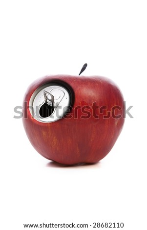 red apple with metallic can opening isolated on white background