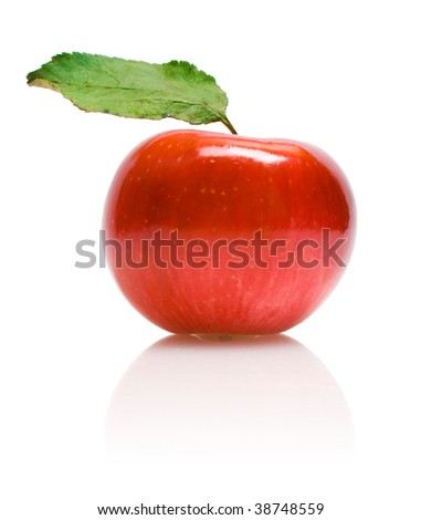 red apple with reflection