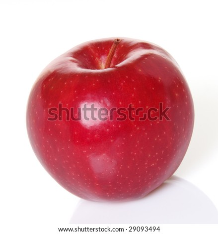 Red apple with shadow and reflection
