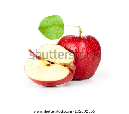 Red apple with slice and leaf isolated on white - stock photo