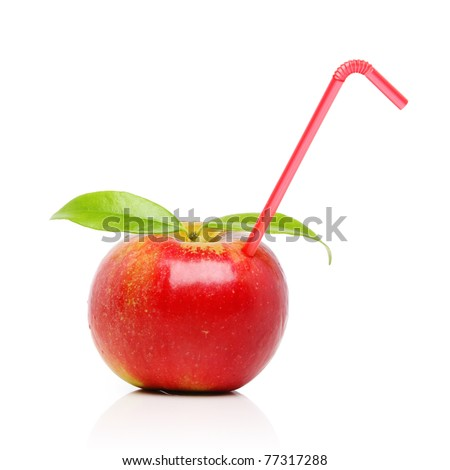 Red apple with straw, isolated on white - stock photo