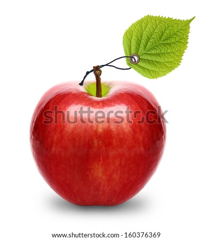 Red apple with tag leaf isolated - stock photo