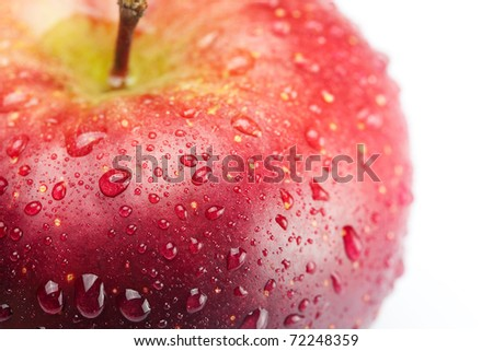 red apple with water drops isolated on white - stock photo
