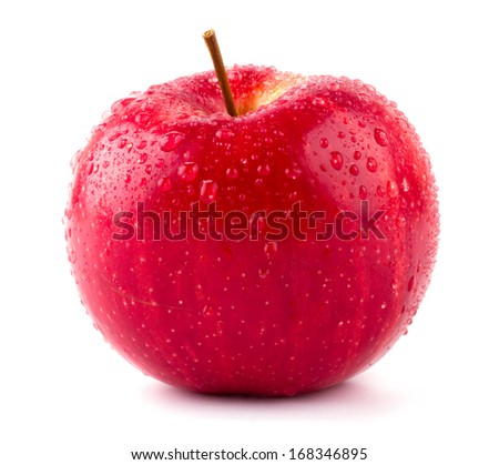 Red apple with water drops isolated on white background - stock photo