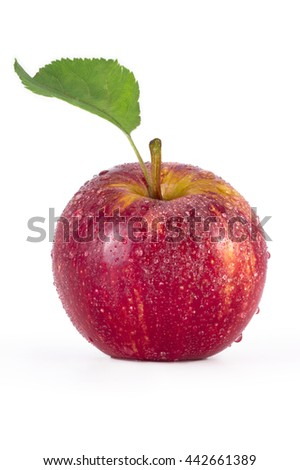 Red apple with water drops isolated on white background
