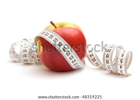 Red apple with white measuring tape isolated on white background