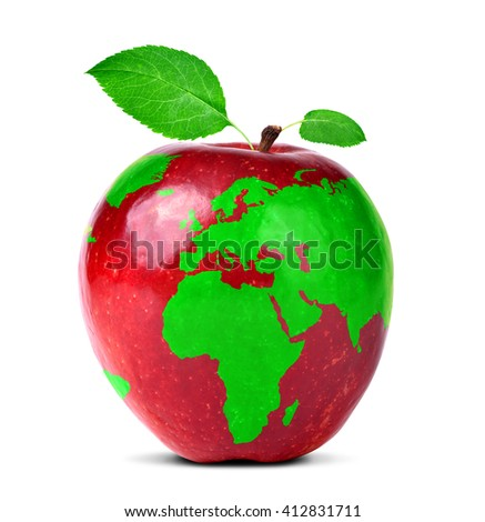 Red apple world map isolated on stock photo safe to use 412831711 red apple with world map isolated on white background gumiabroncs Gallery