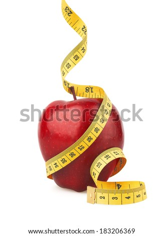 Red apple with yellow measuring tape, isolated on white - stock photo