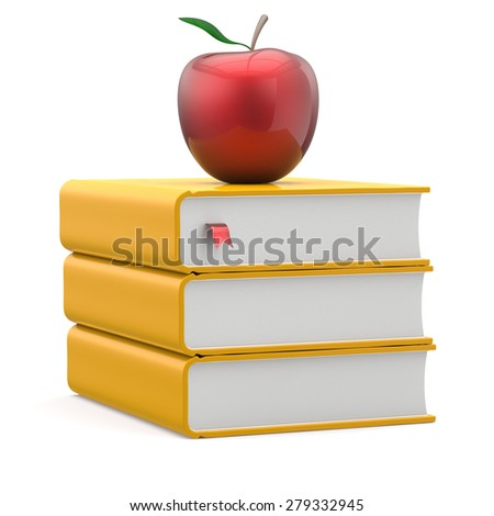 Red apple yellow books textbooks stack education studying reading learning school college knowledge literature idea icon index concept. 3d render isolated on white - stock photo