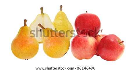 red apples and yellow pears on white  background