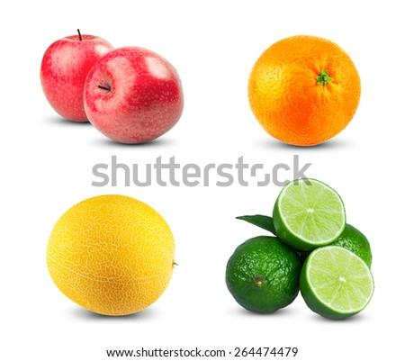 Red Apples fresh diet fruit with vitamins, Fresh orange fruit, Ripe melon and Fresh limes sliced isolated on white background. - stock photo