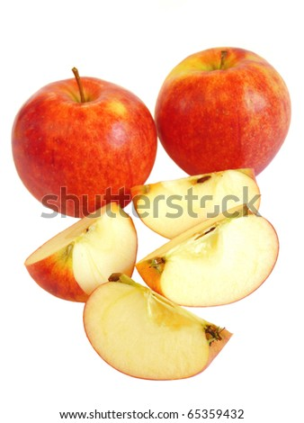 Red apples isolated on a white background - stock photo