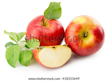 red apples isolated on the white background - stock photo