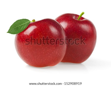 red apples isolated on white - stock photo