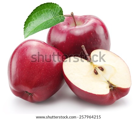 Red apples on a white background. - stock photo