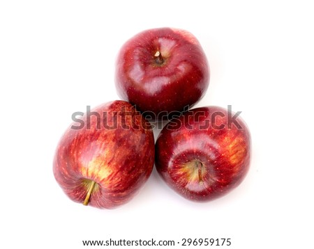 Red apples on a white background - stock photo