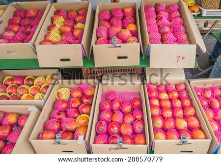 Red apples on sale in the box - stock photo