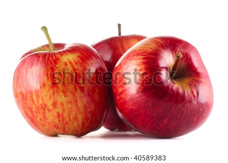 Red apples over white