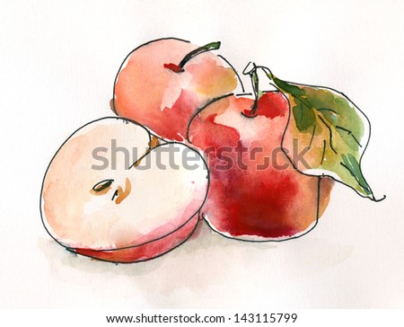 Red apples. Still life. Watercolor painting. Sketchy style.watercolor painting - stock photo