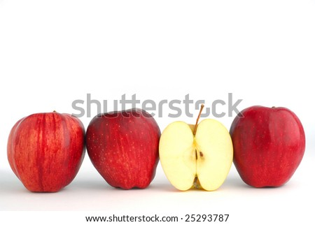 Red apples studio isolated on white background