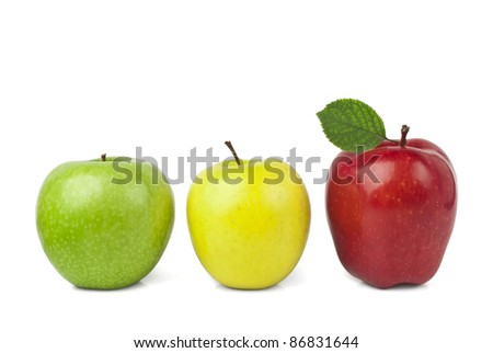 Red apples with leaves isolated on white