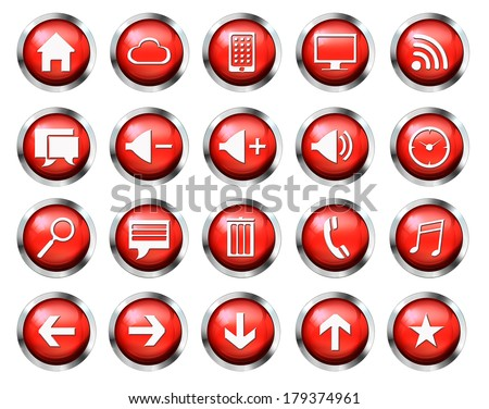 Red aqua-style glossy phone icon buttons set  - stock photo