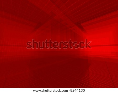 Red architectural 3d space - stock photo