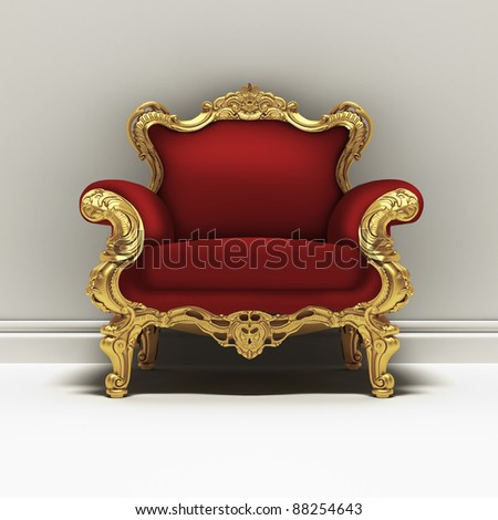 red armchair and white wall - stock photo
