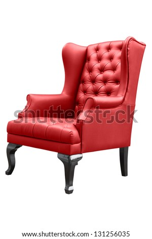 red armchair isolated on white. - stock photo