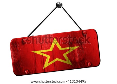 Red army flag, 3D rendering, grunge hanging vintage sign - stock photo