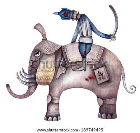 Red Army man with saber on elephant - stock photo