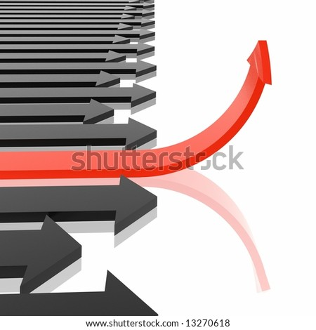 red arrow - stock photo